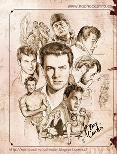 Celebrity Drawings, Celebrity Caricatures, Cool Pencil Drawings, Cartoon Drawings, Tony Curtis, Classic Movie Stars, Classic Films, Star Illustration, Illustration Pictures
