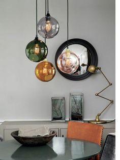 40 glass ball lamps for every interior design - Lampen - Glasses House Design Photos, Cool House Designs, Modern House Design, Lampe Rose, Smoke Design, Lampe Retro, Globe Pendant Light, Pendant Lights, Mini Pendant