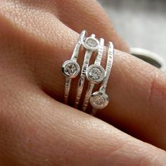 Moissanite and Sterling Stacking Rings