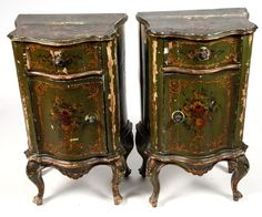Pair of French provincial Style Green paint decorated Nightstands/commodes