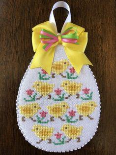 Finished Completed Cross Stitch Ornament Easter Spring Chicks PrairiePreschooler | eBay