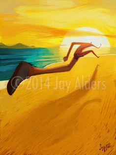 Beach runner - Jay Alders - Surf Art,Figurative,Yoga and Nature Inspired Art