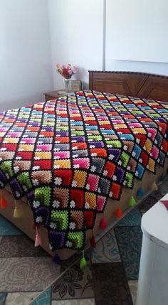 Crochet Bedspread Pattern, Christmas Crochet Patterns, Manta Crochet, Afghans, Bed Spreads, Crochet Projects, Crocheting, Purses And Bags, Blankets