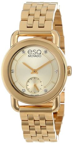 6c7d8855a183 Amazon.com  ESQ Movado Women s 07101417 Classica Ionic Gold Plated Steel  Case and Bracelet Gold Dial Diamond Accents Watch  Watches