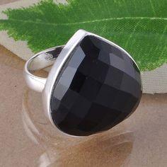 925 STERLING SILVER FANCY BLACK ONYX CHAKER CUT RING JEWELLEY 10.48g DJR2551 #Handmade #Ring