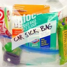 """If your kid is prone to getting car sick, you need to be prepared for the occasional mess. Cul-de-sac Cool shows you how to create a DIY ready-to-go car sickness kit containing everything you'll need when the """"uh-oh""""s strike."""