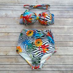 Bow Bandeau Bikini - Vintage Style High Waisted Pin-up Swimwear -  Beautiful Tropical Floral Print - Unique & So Cute!