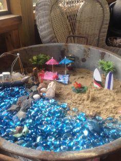 My beach themed fairy garden!