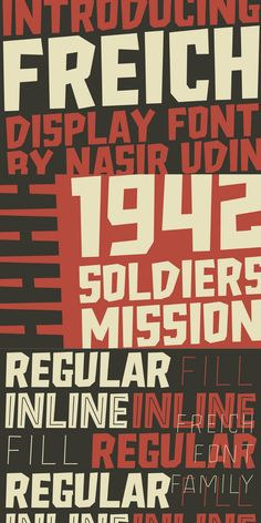 Freich is a mighty bold font with vintage vibes. Perfect for posters with super hero, rebellious, or propaganda themes. Its sharp and strong letter forms will make any statements more powerful. #Ads #Sponsored #AffiliateLink Font Inspiration   Awesome Fonts   Creative Fonts   Display Font   Vintage Fonts Photoshop Fonts, Cool Photoshop, Vintage Fonts, Vintage Vibes, Awesome Fonts, Discover Magazine, Letter Form, Wedding Fonts, Creative Fonts
