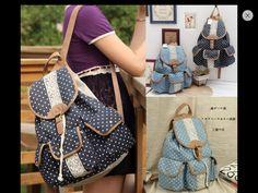 Cute Korean Polka Dotted Lace Canvas Bag!