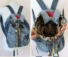 Upcycled big denim backpack with colourful lining