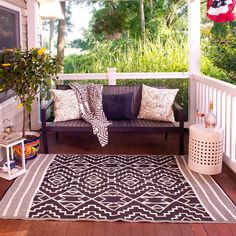 Union Rustic Tayler Indoor/Outdoor Black/Beige Area Rug Rug Size: 4 x 6 Indoor Outdoor Area Rugs, Outdoor Living, Outdoor Carpet, White Area Rug, White Rug, Porch Decorating, Budget Decorating, Porch Swing, Outdoor Furniture