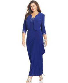 Alex Evenings Plus Size Dress, Sleeveless Jewel-Neck Faux-Wrap Gown - Dresses - Plus Sizes - Macy's
