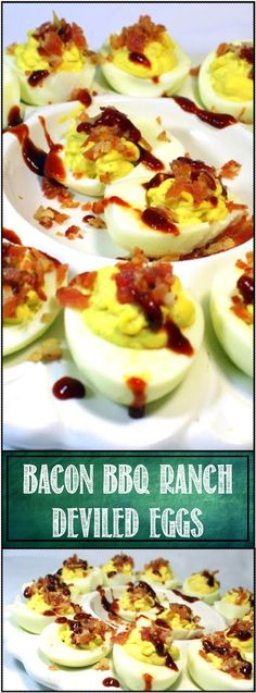 BACON BBQ Ranch Deviled Eggs - 52 Church PotLuck Dishes... It's Deviled Egg time…