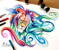 The lion's mane here has been highlighted by the use of marker.  drawings with markers - Google Search