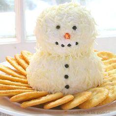 Snowman Cheese Ball! http://www.craftsalamode.com/2013/12/cute-and-yummy-snowman-cheeseball.html?m=1