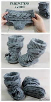 Knit Cable Baby Booties Free Knitting Pattern + Video - Knitting PatternYou can find Baby booties and more on our website.Knit Cable Baby Booties Free Knitting Pattern + Video - K. Baby Booties Knitting Pattern, Easy Knitting Patterns, Crochet Baby Booties, Baby Patterns, Free Knitting, Crochet Patterns, Loom Knitting, Knit Baby Shoes, Crochet Shoes