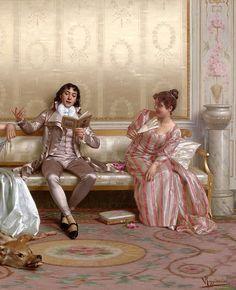 """""""The Lecture"""" (detail) by Vittorio Reggianini (1858-1938)."""