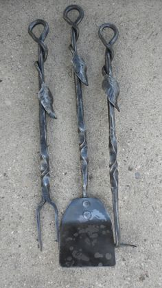 fireplace tools, hand forged