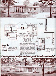 6 Retro Home Decor Ideas Vintage House Plans, Modern House Plans, House Floor Plans, Mid Century Ranch, Mid Century House, New House Construction, Mcm House, Vintage Architecture, House Blueprints