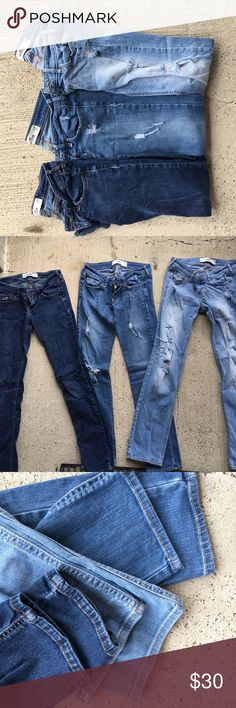 Like New Hollister Jeans - Skinny and Distressed Like New Hollister Jeans 2 Distressed light washed and 1 Dark No distress• all size 25x31 • Hem is in perfect shape• accepting reasonable offers Hollister Jeans Skinny