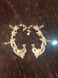 Fashion Jewellery, Gold Jewellery, Pearl Jewelry, Indian Jewelry, Baby Earrings, Simple Earrings, Simple Jewelry, Elf Ear Cuff, Ear Cuffs