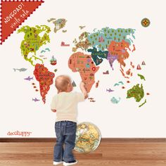 Vinilo infantil mapamundi fantástico. #vinilosinfantiles #vinilosdecorativos #mapamundi