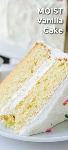 Healthy Cake Recipes, Delicious Cake Recipes, Cupcake Recipes, Yummy Cakes, Baking Recipes, Homemade Vanilla Cake, Homemade Cakes, Perfect Vanilla Cake Recipe, Vanilla Birthday Cake Recipe