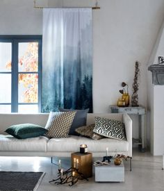 White/landscape. Curtain panel in woven cotton fabric with a photographic printed design and wide cased heading. Hemming tape included. Contains one curtain