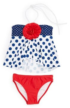 Love U Lots Polka Dot Two-Piece Swimsuit (Toddler Girls) available at #Nordstrom