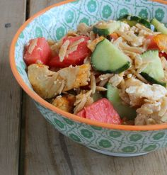 Orzo Salad with Chicken, Watermelon and Feta -