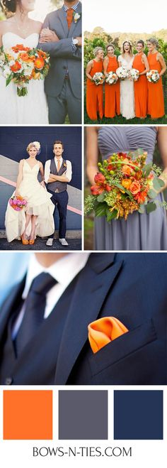 Autumn weddings offer a multitude of options when it comes to color palettes and one of our favorites is the combination of oranges, navy blues, grays and whites. Orange is an unapologetically bright color that makes a fashion statement