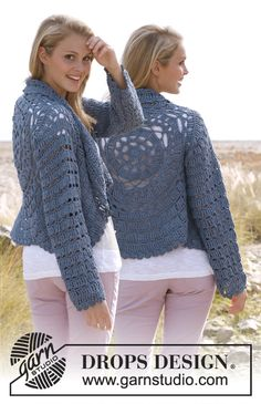 """Crochet DROPS jacket worked in a circle with lace pattern and long sleeves in """"Paris"""". Size: S - XXXL."""