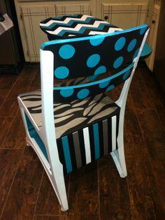 Rustic Rehab: Painted old school desk, turquoise, black, white, silver, zebra print, chevron, stripes,