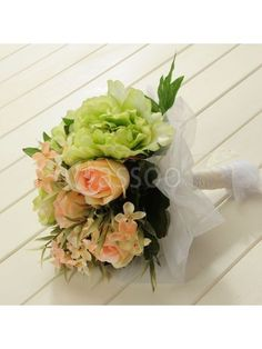 Organza Wrapped Clover/Green Peony Wedding Flower for Wedding Party MS69ZP607