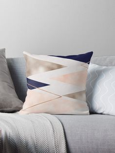 Geometric designs in rose gold and striking french navy. Blue Velvet Couch, Navy Couch, Gold Couch, Throw Pillows Bed, Bed Throws, Decorative Throw Pillows, Copper And Marble, Geometric Throws, Condo Decorating