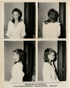 """Costume test photos for """"Breakfast At Tiffany's"""", Audrey Hepburn as Holly Golightly for bathrobe scene. Audrey Hepburn Hair, Audry Hepburn Costume, Audrey Hepburn Tattoo, Audrey Hepburn Breakfast At Tiffanys, Fred Astaire, Hair Test, Girl Interrupted, Photo Star, Movie Posters"""