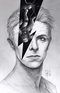 David Bowie, Ziggy Stardust fan art, illustration, pop art.