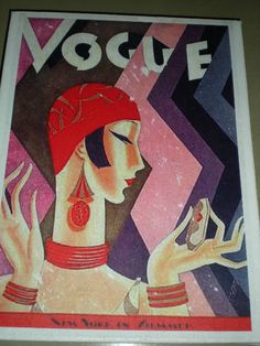 """Vintage Vogue Advertising Cover - image transfer to canvas using gel medium - check out my work at my Etsy shop """"Pic Me Canvas Art"""""""