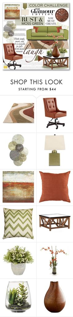 """Color Challenge: Moss Green and Rust"" by katyusha-kis ❤ liked on Polyvore featuring interior, interiors, interior design, home, home decor, interior decorating, Pier 1 Imports, Universal Lighting and Decor, Grandin Road and Surya"