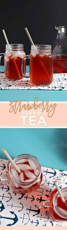 Stay cool during the dog days of summer with this refreshing Strawberry Sweet Tea!   Strawberry Sweet Tea   Fruit Sweet Tea   Sweet Tea   Homemade Sweet Tea   Easy Sweet Tea   Summer Drink   Sweet Drink   Summer Tea Recipe   Southern Sweet Tea   Southern Tea Summertime Drinks, Summer Drinks, Fun Drinks, Beverages, Craft Cocktails, Sweet Tea Recipes, Southern Sweet Tea, Strawberry Tea, Blueberry Lemonade