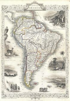 Reproduction of a Vintage Map of South America from Fantastic Photo Poster Print - Old Archive Cartography Old Maps, Antique Maps, Vintage Maps, Vintage Wall Art, Vintage Posters, Antique Prints, Fine Art Photo, Photo Art, Brazil Argentina