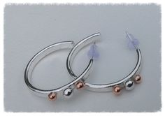 Sterling silver hoop earrings mixed metal by HENjewellery on Etsy