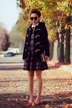 12.12 toggle coat (Gloverall heritage toggle coat + white button-down + ASOS dress + Celine pumps + Karen Walker sunnies)