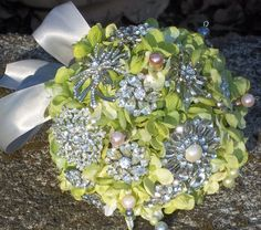 Crystal Spring Bouquet  With Brooches by MysticalScentsBridal, $60.00