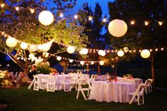 All kinds of colorful, whimsy details transformed this bride's parents backyard into a fun, magical outside soirée