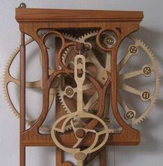 Woodworking Workshop Air Compressor Wooden Gear Clock Plans from Hawaii by Clayton Boyer.Woodworking Workshop Air Compressor Wooden Gear Clock Plans from Hawaii by Clayton Boyer Woodworking Joints, Woodworking Workshop, Woodworking Furniture, Fine Woodworking, Woodworking Projects, Woodworking Techniques, Custom Woodworking, Wooden Gear Clock, Wooden Gears