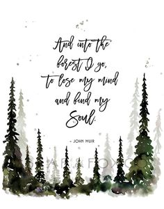 This watercolor forest print is the perfect wall art for the adventurer, explorer or anyone who has a free spirit. Pine Tree Art, Pine Trees Forest, Tree Tree, John Muir Quotes, Harry Potter Art, Lose My Mind, Tree Print, Planner, Watercolor Illustration