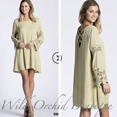 """Sage n' Lace Shift Dress Beautiful Crochet and Sage Bell Sleeve Shift Dress. Fully Lined. Lattice detail on back and crochet detailing on bell sleeves. Gorgeous soft sage color. 100% Rayon. Length on all sizes from shoulder to hem 34"""". S-M-L. TTS.                     Style #D114.       •Please use the """"Buy Now"""" or """"Add to Bundle"""" feature to purchase. Thank you💕 🌿LOWEST PRICE UP FRONT CLOSET   Dresses"""