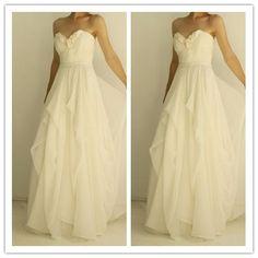 Chiffon simple stunning bridal gown 2016 wedding dresses #W042